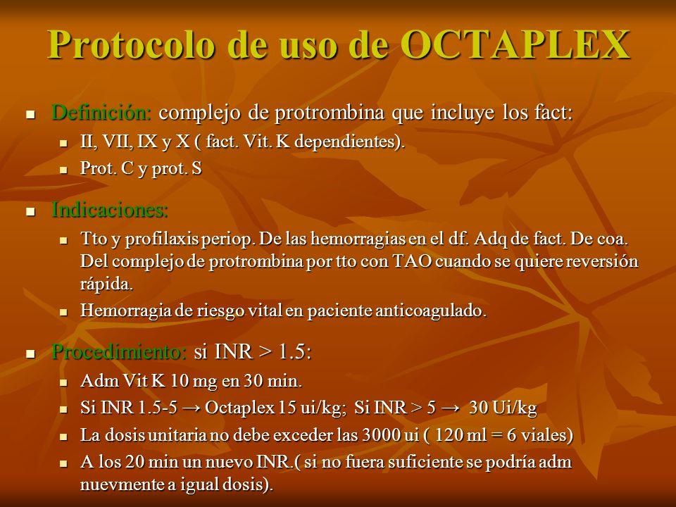 Protocolo de uso de OCTAPLEX Definición: complejo de protrombina que incluye los fact: Definición: complejo de protrombina que incluye los fact: II, V