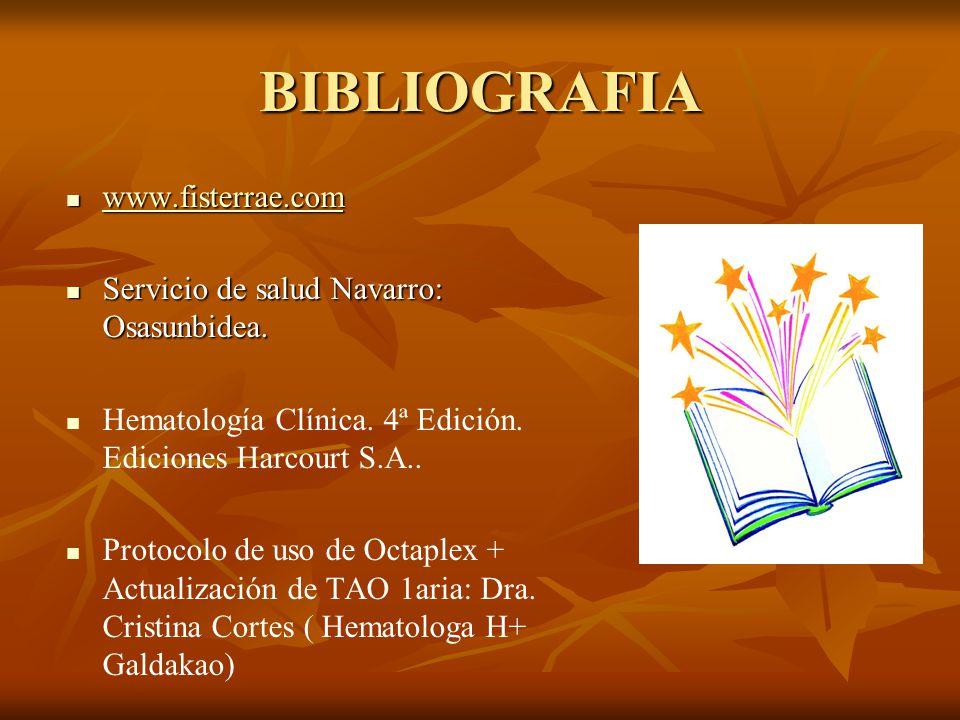 BIBLIOGRAFIA www.fisterrae.com www.fisterrae.com www.fisterrae.com Servicio de salud Navarro: Osasunbidea. Servicio de salud Navarro: Osasunbidea. Hem