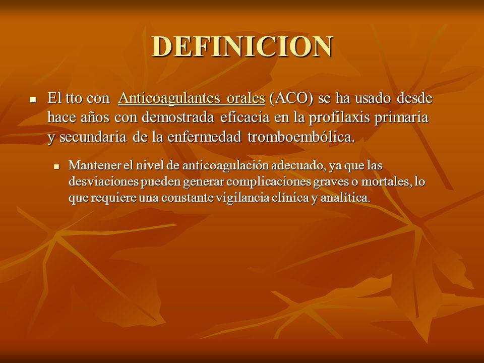 DEFINICION El tto con Anticoagulantes orales (ACO) se ha usado desde hace años con demostrada eficacia en la profilaxis primaria y secundaria de la en