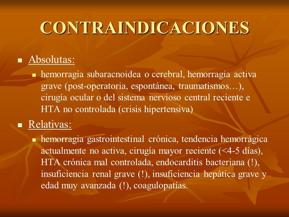 CONTRAINDICACIONES Absolutas: hemorragia subaracnoidea o cerebral, hemorragia activa grave (post-operatoria, espontánea, traumatismos…), cirugía ocula