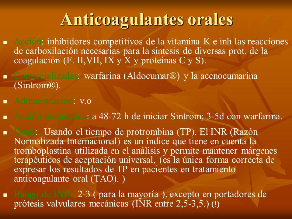 Anticoagulantes orales Acción: inhibidores competitivos de la vitamina K e inh las reacciones de carboxilación necesarias para la síntesis de diversas