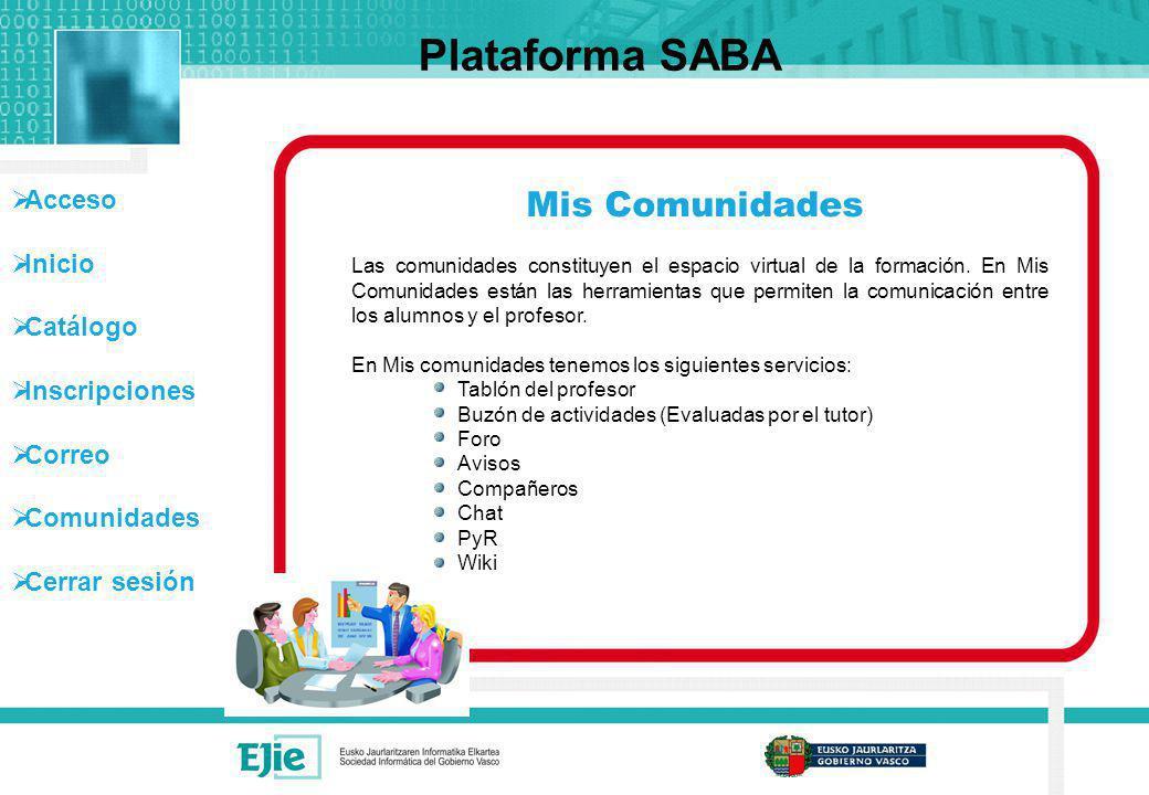 Acceso Inicio Catálogo Inscripciones Correo Comunidades Cerrar sesión Mis Comunidades Plataforma SABA Las comunidades constituyen el espacio virtual d