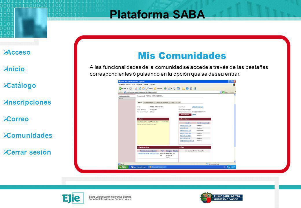 Acceso Inicio Catálogo Inscripciones Correo Comunidades Cerrar sesión Mis Comunidades Plataforma SABA A las funcionalidades de la comunidad se accede
