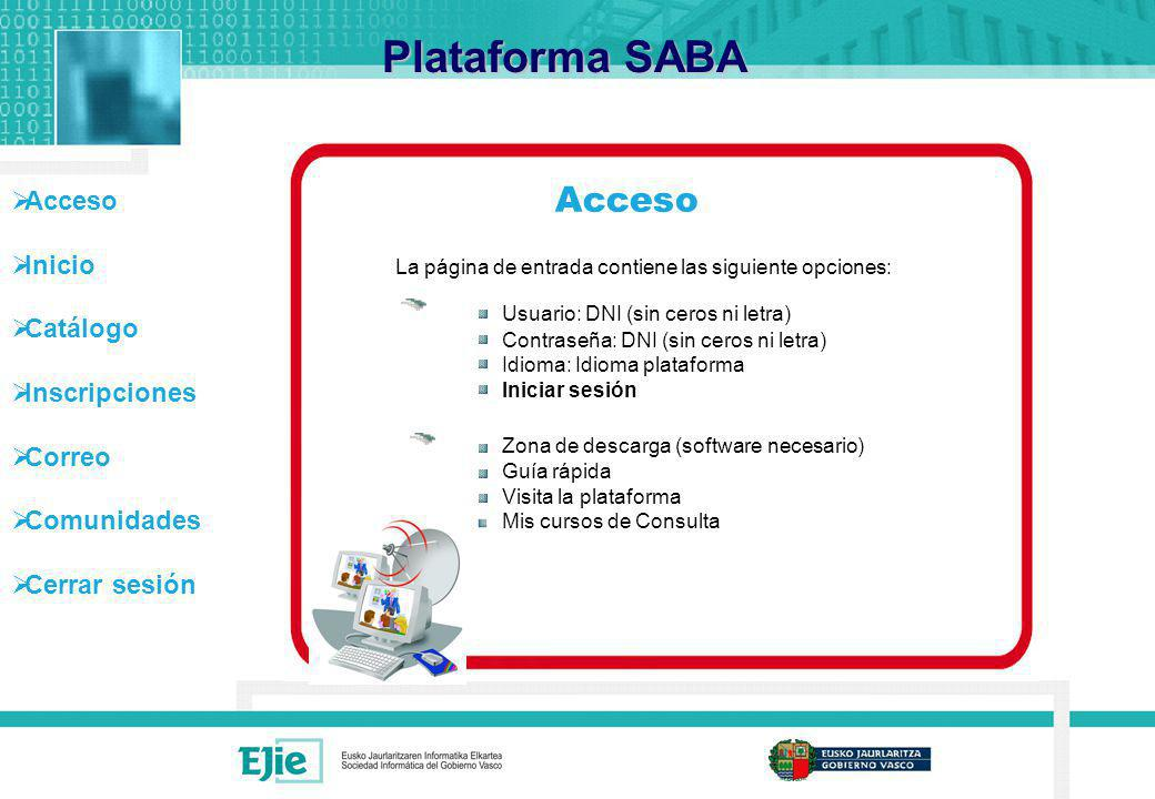 Acceso Inicio Catálogo Inscripciones Correo Comunidades Cerrar sesión Mis Comunidades Plataforma SABA A las funcionalidades de la comunidad se accede a través de las pestañas correspondientes ó pulsando en la opción que se desea entrar.