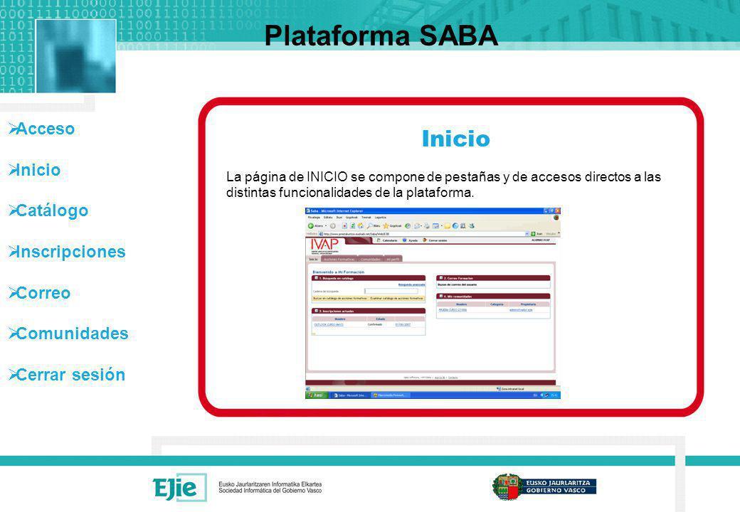 Acceso Inicio Catálogo Inscripciones Correo Comunidades Cerrar sesión Plataforma SABA En la parte superior de la pantalla tenemos las siguientes opciones: Calendario Ayuda Cerrar sesión