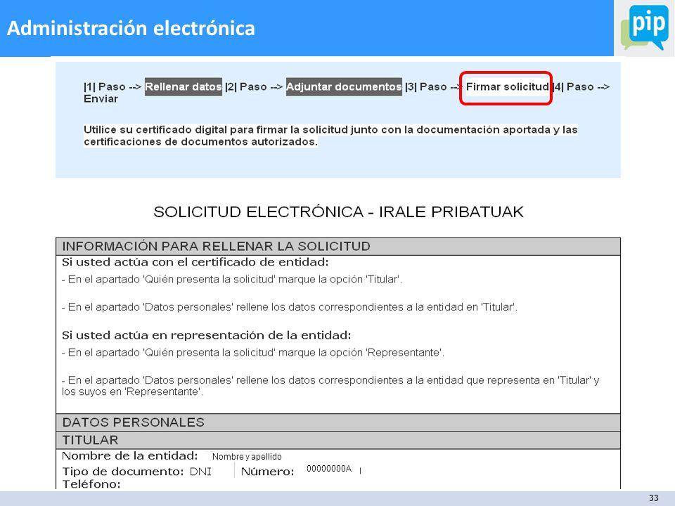 33 Administración electrónica Nombre y apellido 00000000A
