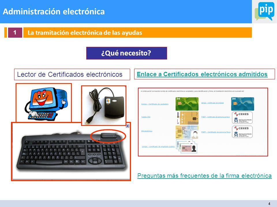 4 Administración electrónica 1 La tramitación electrónica de las ayudas ¿Qué necesito.