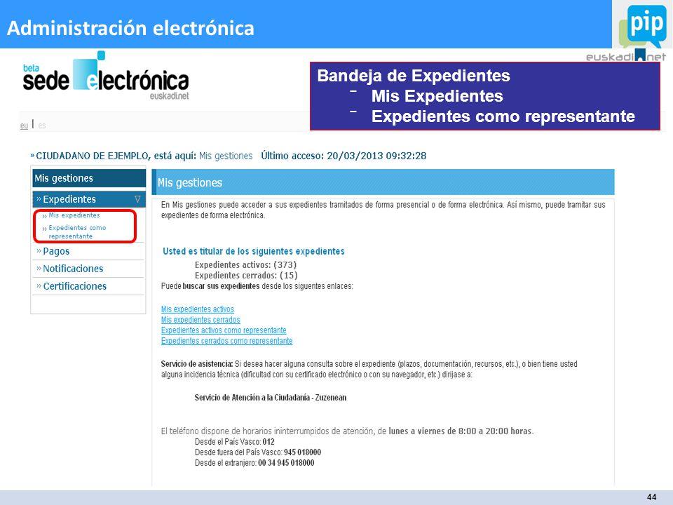 44 Administración electrónica Bandeja de Expedientes Mis Expedientes Expedientes como representante