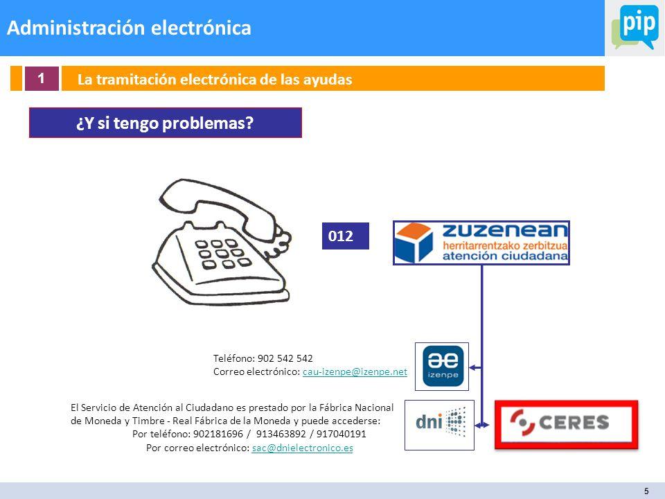 5 Administración electrónica 1 La tramitación electrónica de las ayudas ¿Y si tengo problemas.