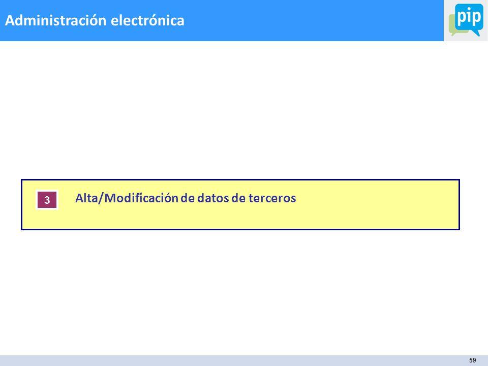 59 Administración electrónica Í N D I C E Alta/Modificación de datos de terceros 3