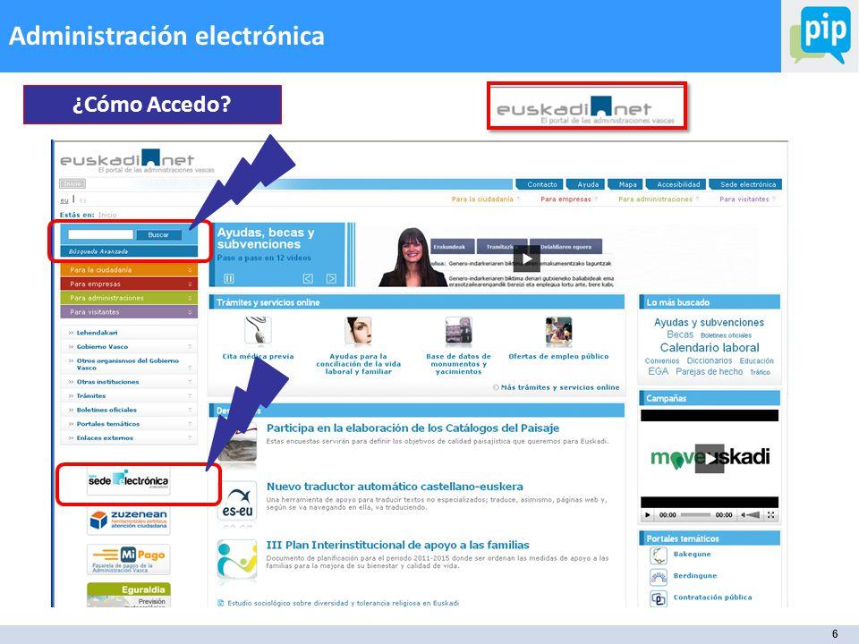 6 Administración electrónica La tramitación electrónica de las ayudas ¿Cómo Accedo?