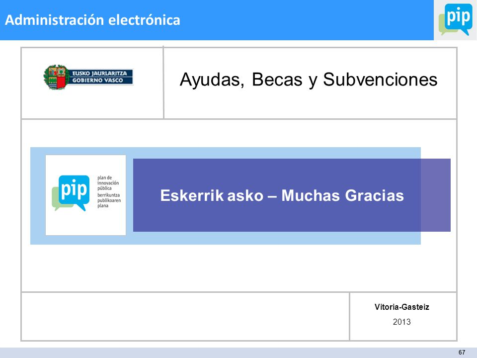 67 Administración electrónica Eskerrik asko – Muchas Gracias Vitoria-Gasteiz 2013 Ayudas, Becas y Subvenciones