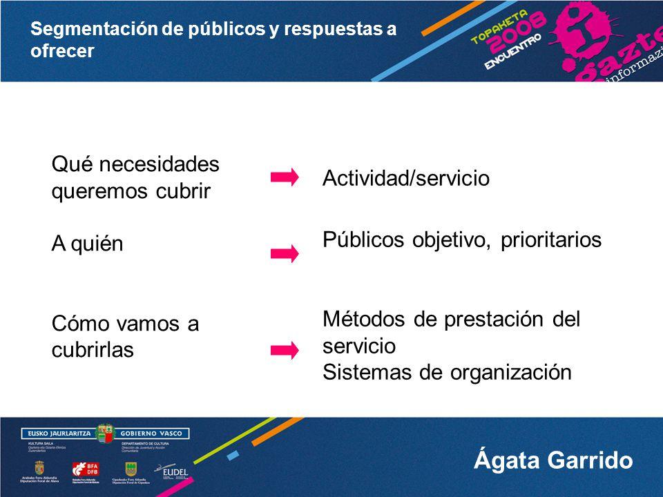 Segmentación de públicos y respuestas a ofrecer Ágata Garrido Necesitamos SIJ orientados, desde su concepción, hacia los diferentes públicos objetivo en cada momento (internos y externos).