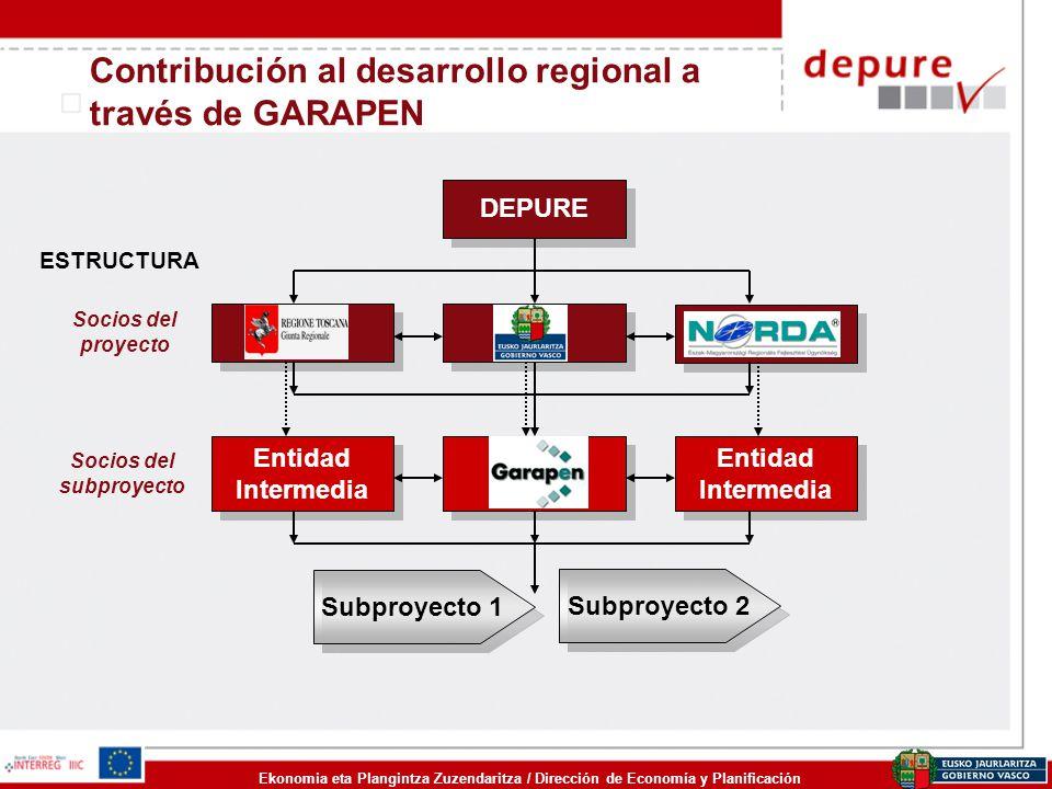 Ekonomia eta Plangintza Zuzendaritza / Dirección de Economía y Planificación Contribución al desarrollo regional a través de GARAPEN Subproyecto 1 DEP
