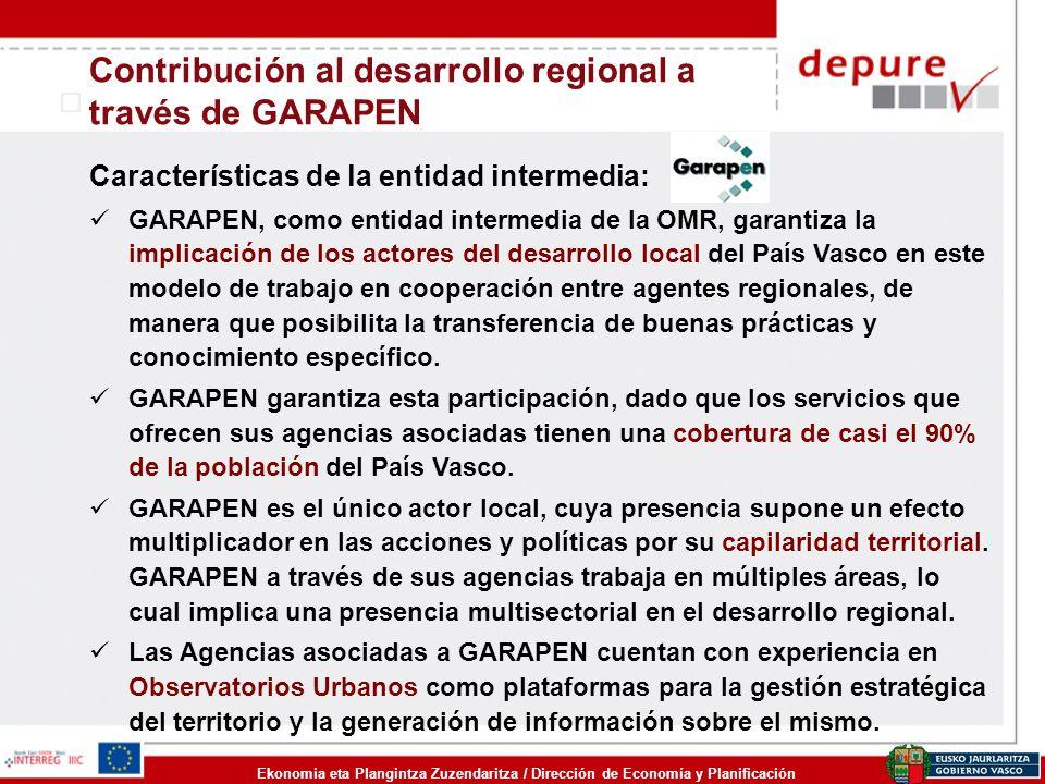 Ekonomia eta Plangintza Zuzendaritza / Dirección de Economía y Planificación Contribución al desarrollo regional a través de GARAPEN Características d