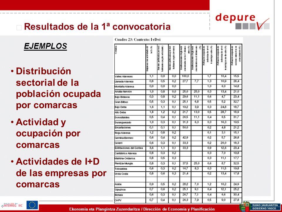 Ekonomia eta Plangintza Zuzendaritza / Dirección de Economía y Planificación Resultados de la 1ª convocatoria Distribución sectorial de la población o