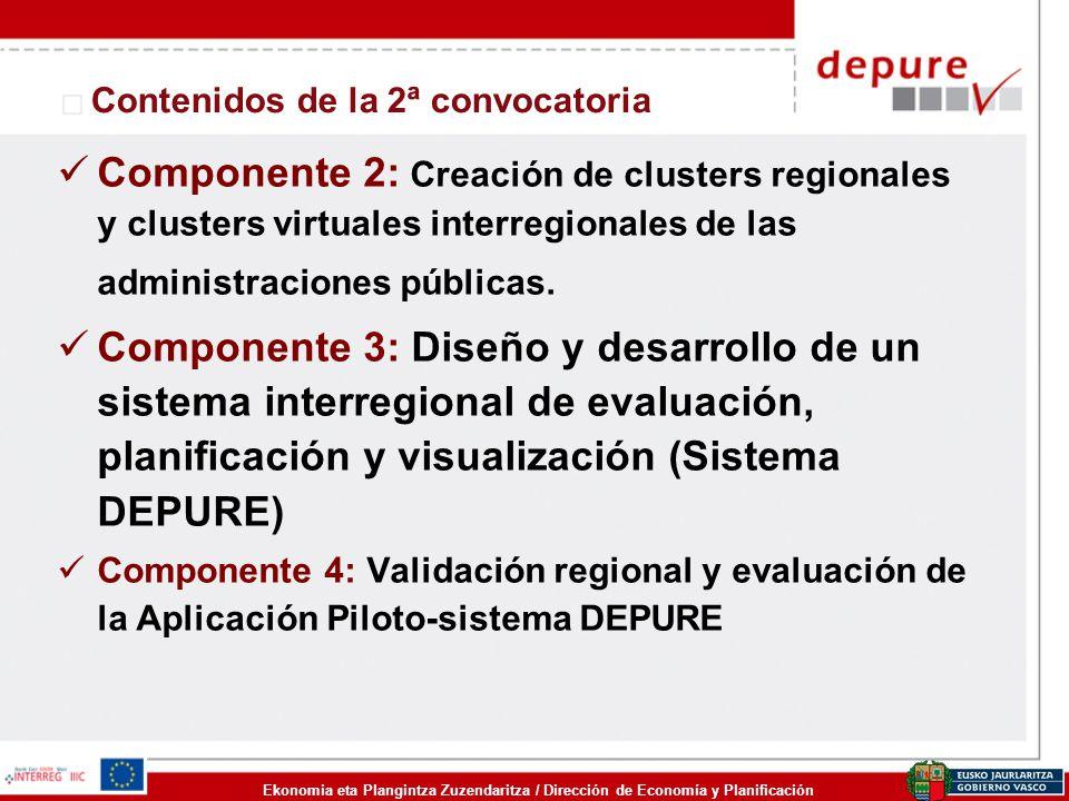 Ekonomia eta Plangintza Zuzendaritza / Dirección de Economía y Planificación Componente 2: Creación de clusters regionales y clusters virtuales interr