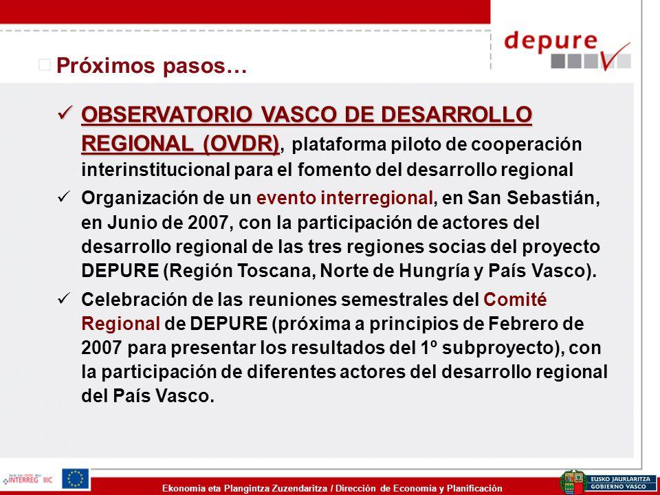 Ekonomia eta Plangintza Zuzendaritza / Dirección de Economía y Planificación Próximos pasos… OBSERVATORIO VASCO DE DESARROLLO REGIONAL (OVDR) OBSERVAT