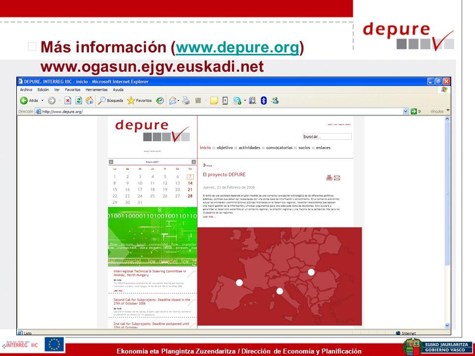 Ekonomia eta Plangintza Zuzendaritza / Dirección de Economía y Planificación Más información (www.depure.org) www.ogasun.ejgv.euskadi.netwww.depure.or
