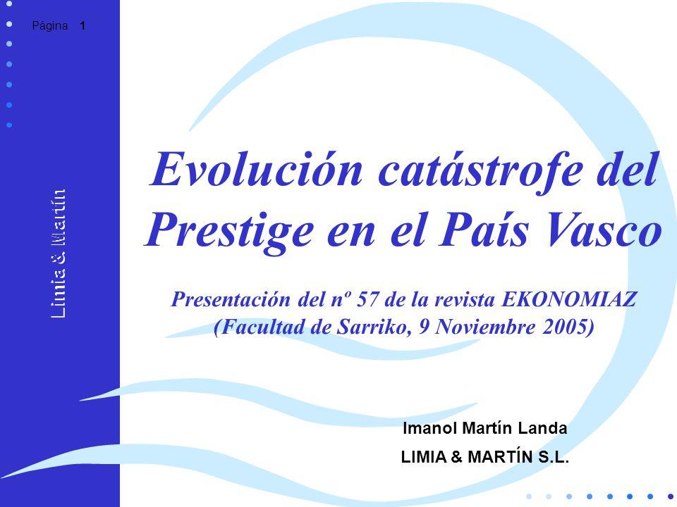 Página 1 Evolución catástrofe del Prestige en el País Vasco Presentación del nº 57 de la revista EKONOMIAZ (Facultad de Sarriko, 9 Noviembre 2005) Lim
