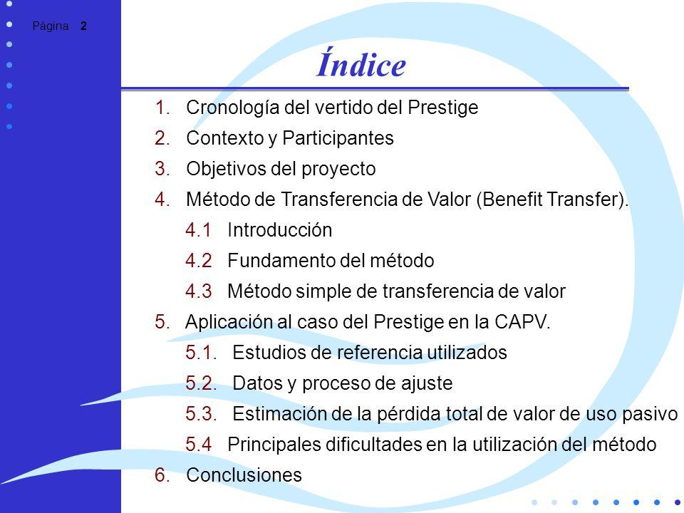 Página 2 Índice 1. Cronología del vertido del Prestige 2. Contexto y Participantes 3. Objetivos del proyecto 4. Método de Transferencia de Valor (Bene