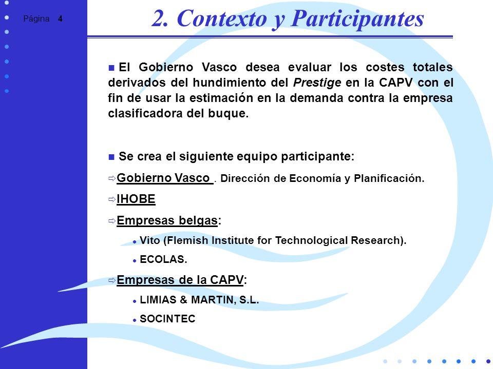 Página 4 2. Contexto y Participantes El Gobierno Vasco desea evaluar los costes totales derivados del hundimiento del Prestige en la CAPV con el fin d