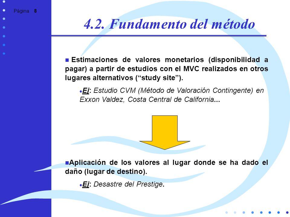 Página 8 4.2. Fundamento del método Estimaciones de valores monetarios (disponibilidad a pagar) a partir de estudios con el MVC realizados en otros lu
