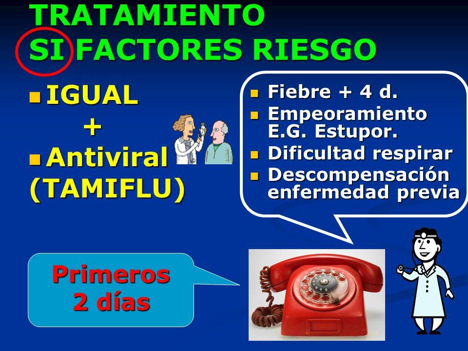 TRATAMIENTO SI FACTORES RIESGO IGUAL IGUAL + Antiviral Antiviral(TAMIFLU) Fiebre + 4 d. Empeoramiento E.G. Estupor. Dificultad respirar Descompensació