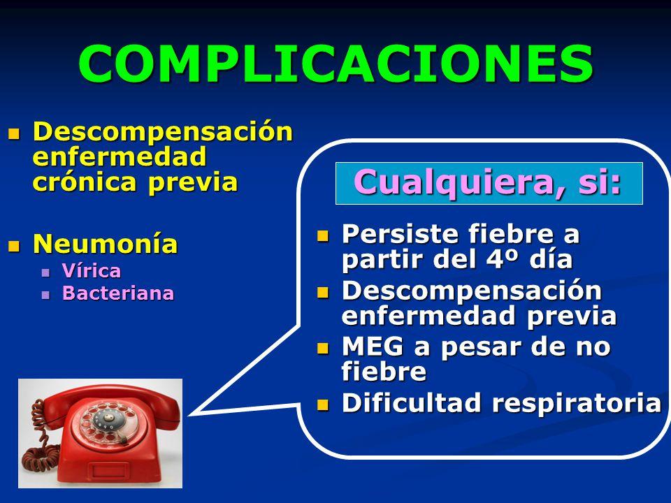 COMPLICACIONES Descompensación enfermedad crónica previa Descompensación enfermedad crónica previa Neumonía Neumonía Vírica Vírica Bacteriana Bacteria