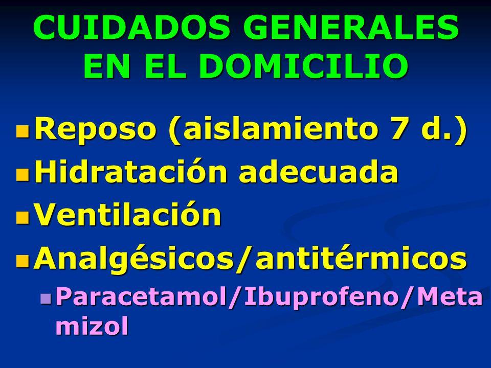 CUIDADOS GENERALES EN EL DOMICILIO Reposo (aislamiento 7 d.) Reposo (aislamiento 7 d.) Hidratación adecuada Hidratación adecuada Ventilación Ventilaci