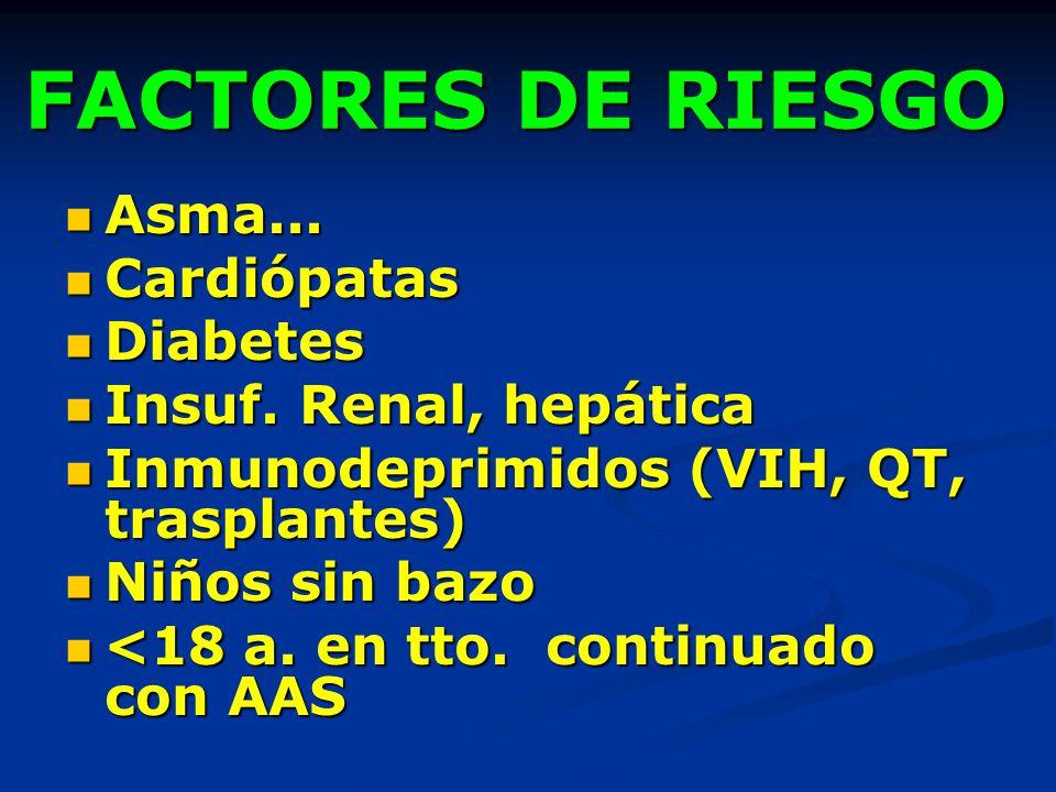 FACTORES DE RIESGO Asma... Asma... Cardiópatas Cardiópatas Diabetes Diabetes Insuf. Renal, hepática Insuf. Renal, hepática Inmunodeprimidos (VIH, QT,