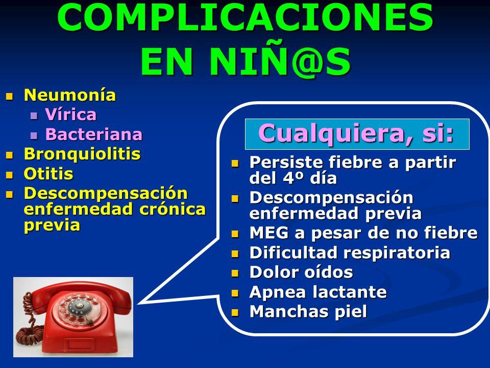 COMPLICACIONES EN NIÑ@S Neumonía Neumonía Vírica Vírica Bacteriana Bacteriana Bronquiolitis Bronquiolitis Otitis Otitis Descompensación enfermedad cró