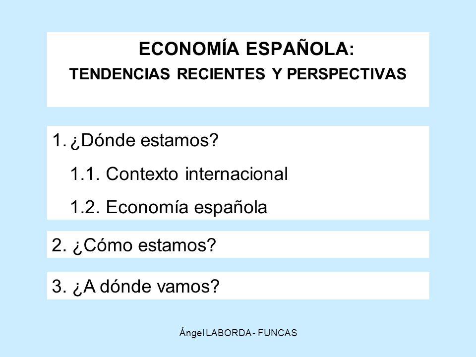 Ángel LABORDA - FUNCAS ECONOMÍA ESPAÑOLA: TENDENCIAS RECIENTES Y PERSPECTIVAS 1.¿Dónde estamos.