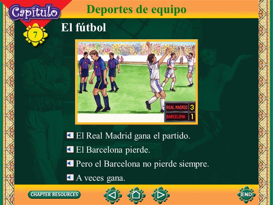El fútbol Deportes de equipo 7 El portero no puede bloquear (parar) el balón. El balón entra en la portería. González mete un gol. Él marca un tanto.