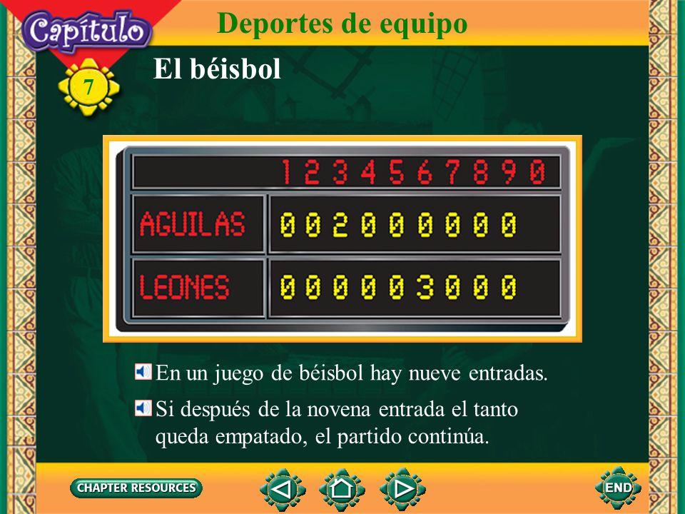 El béisbol Deportes de equipo 7 La jugadora atrapa la pelota. Atrapa la pelota con el guante.