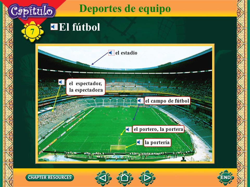 Vocabulario Describing a football game el fútbol soccer ball 7 Deportes de equipo el balón ball el tiempo time el/la portero(a) goalie la portería goal (English–Spanish)
