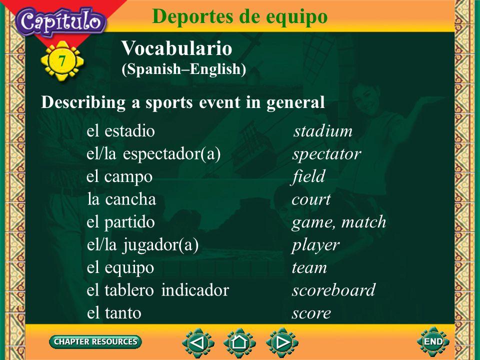 Vocabulario Identifying sports el fútbolsoccer 7 Deportes de equipo el béisbolbaseball el básquetbol, el baloncesto basketball (Spanish–English)