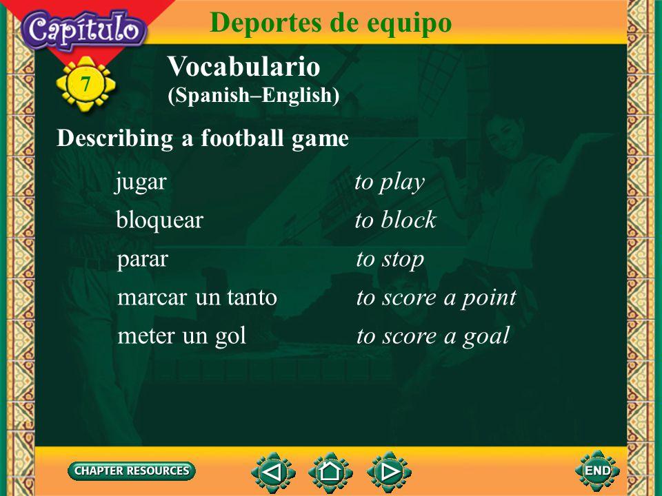 Vocabulario Describing a football game el fútbolsoccer ball 7 Deportes de equipo el balónball el tiempotime el/la portero(a)goalie la porteríagoal (Sp