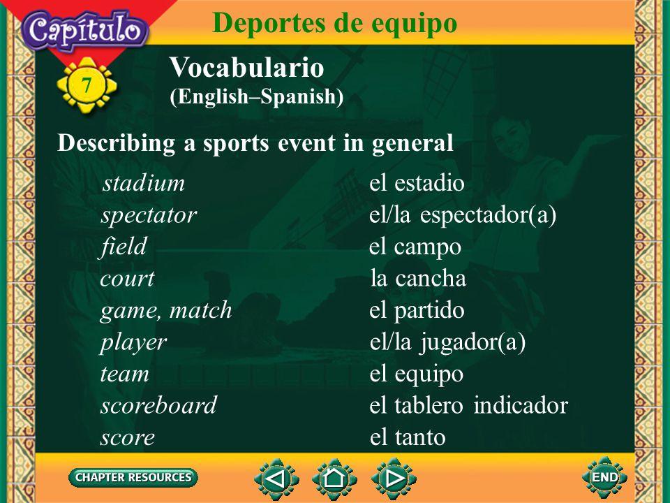Vocabulario Identifying sports el fútbolsoccer 7 Deportes de equipo el béisbolbaseball el básquetbol, el baloncesto basketball (English–Spanish)