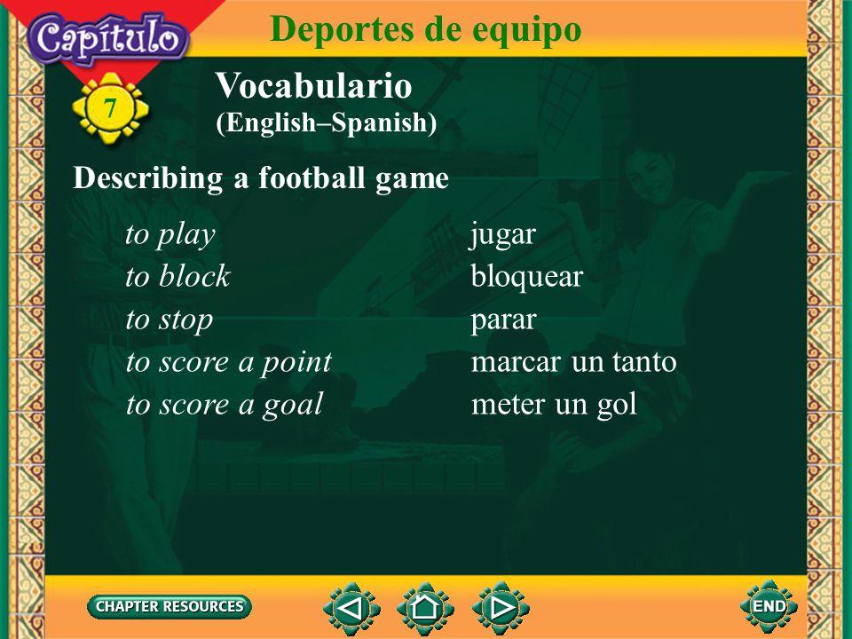 Vocabulario Describing a football game el fútbol soccer ball 7 Deportes de equipo el balón ball el tiempo time el/la portero(a) goalie la portería goa