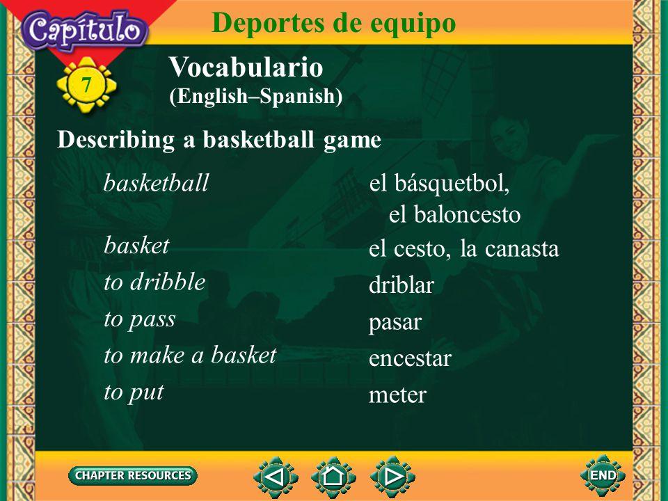 Vocabulario Describing a baseball game la entradainning 7 Deportes de equipo la pelotaball el batebat batearto bat correrto run atraparto catch devolv