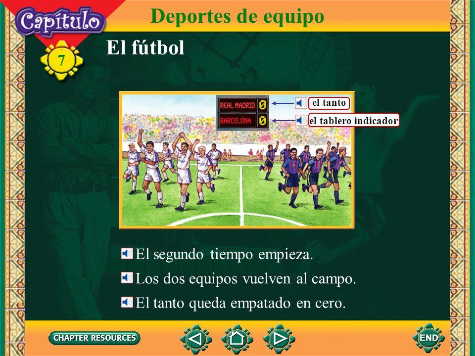 El fútbol Deportes de equipo 7 Los jugadores juegan (al) fútbol. Un jugador lanza el balón. Tira el balón con el pie. El portero guarda la portería.