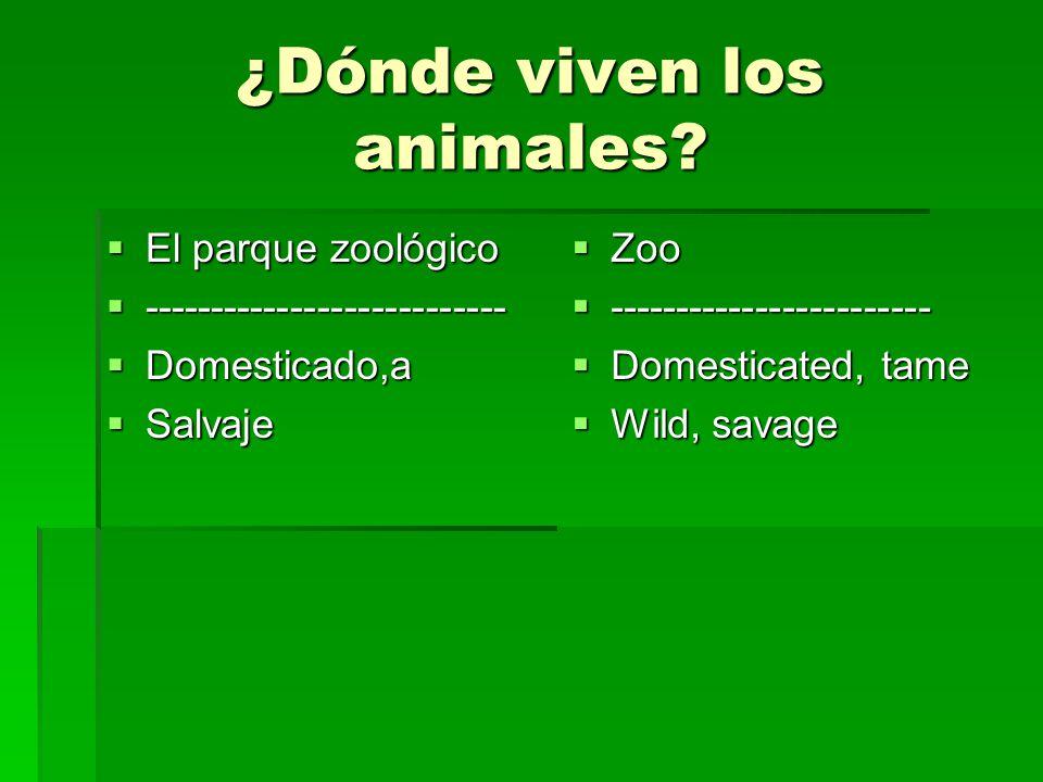 ¿Dónde viven los animales? El parque zoológico El parque zoológico --------------------------- --------------------------- Domesticado,a Domesticado,a