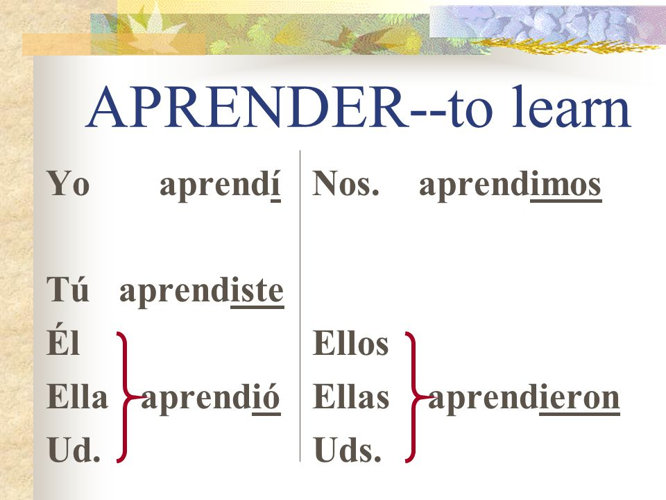 -ER/-IR Preterite Endings Lets do a regular -ER/-IR verb.