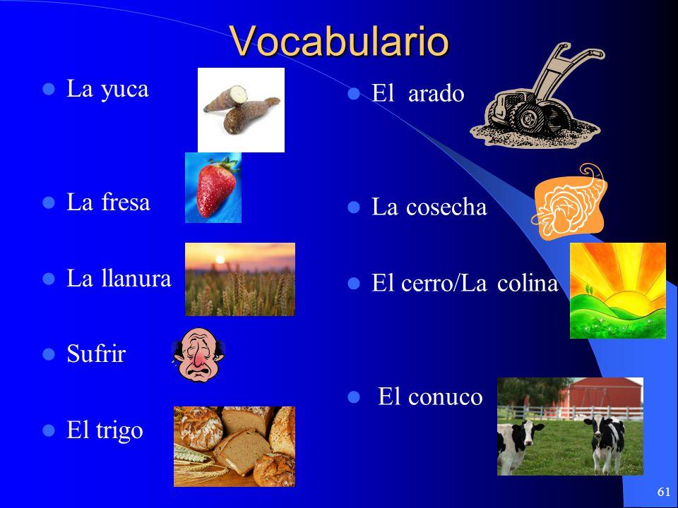Vocabulario El maguey La batata El miel El berro El aguacero Caer Pitisalé Sembrar Bajar 60