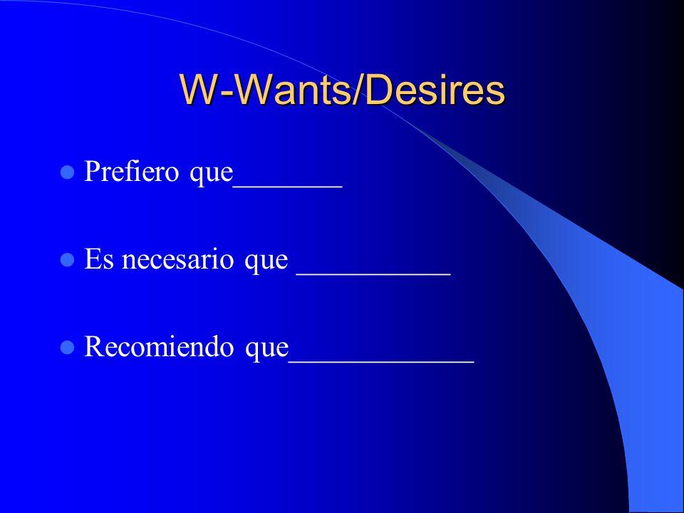 W- Wants/Desires Quiero que_________ Espero que________ Ojala que__________