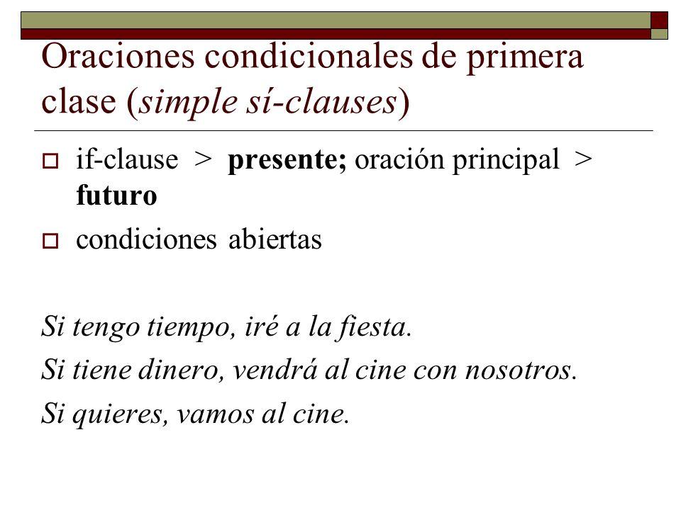 Oraciones condicionales de primera clase (simple sí-clauses) if-clause > presente; oración principal > futuro condiciones abiertas Si tengo tiempo, ir