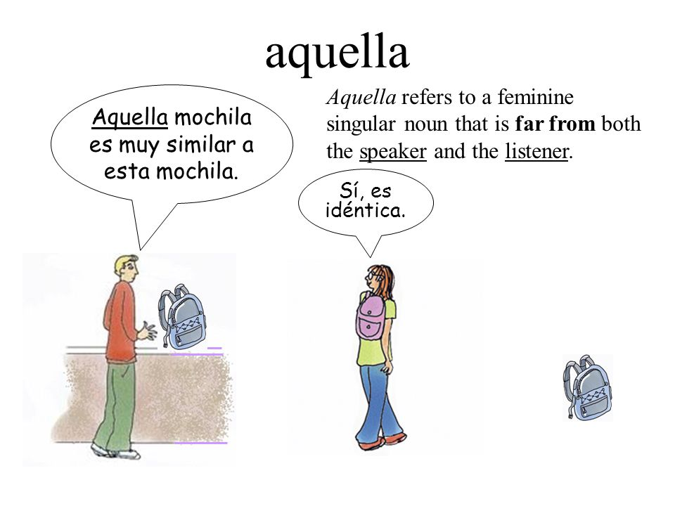 Aquella mochila es muy similar a esta mochila. Sí, es idéntica. aquella Aquella refers to a feminine singular noun that is far from both the speaker a