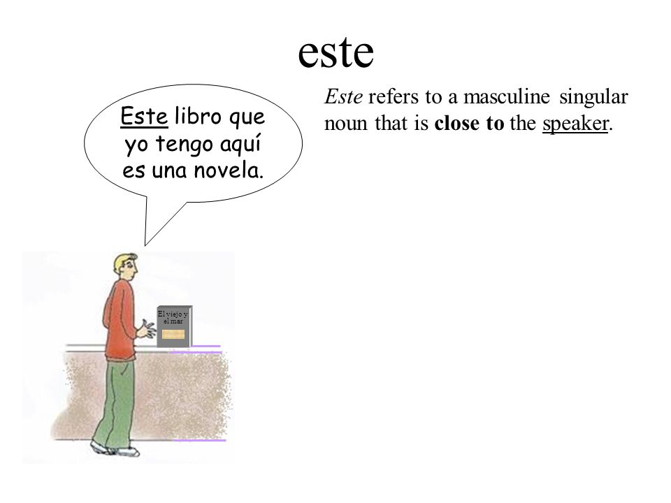 El viejo y el mar Este libro que yo tengo aquí es una novela. este Este refers to a masculine singular noun that is close to the speaker.