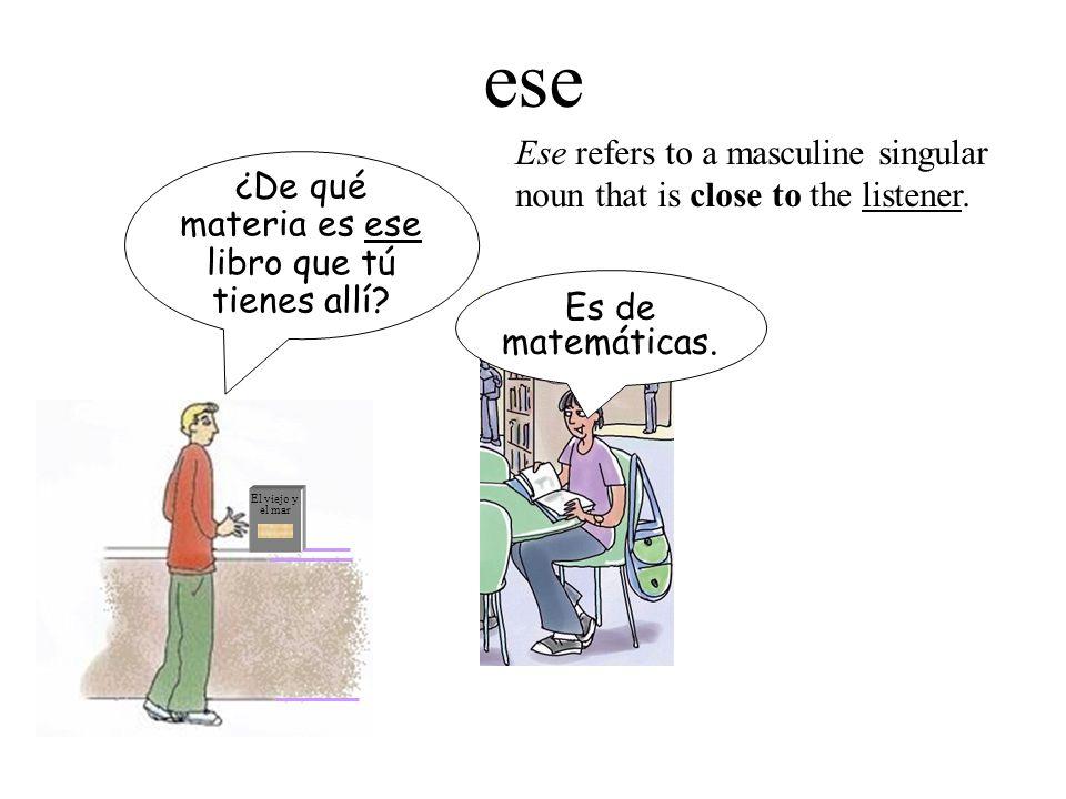 Summary Este, esta = this Estos, estas = these Ese, esa = that Esos, esas = those Aquel, aquella = that (over there) Aquellos, aquellas = those (over there) This and these have ts; that and those dont.